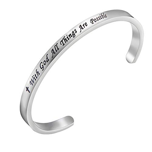 FEELMEM Matthew 19:26 with God All Things are Possible Faith Cuff Bangle Bracelet- Religious Jewelry- Inspirational Christian Gifts(Silver God)