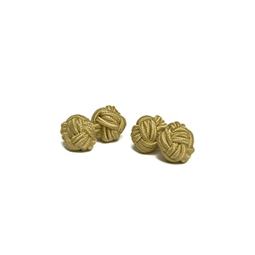 - Jacob Alexander Pair of Solid Color Silk Knot Cufflinks - Gold
