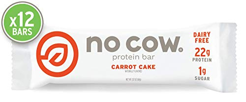 No Cow Protein Bar, Carrot Cake, 22g Plant Based Protein, Keto Friendly, Low Sugar, Dairy Free, Gluten Free, Vegan, High Fiber, Non-GMO,  12 Count