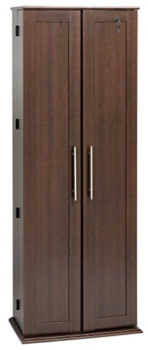 Espresso Grande Locking Media Storage Cabinet with Shaker Doors