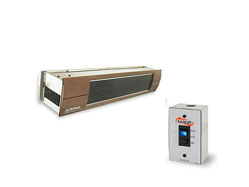 Hanging Electric Steel Stainless Heater (QBC Bundled Sunpak Two Stage Hardwired S34-S-TSH-12020-3-BRONZE (25,000 BTU and 34,000 BTU) Hanging Patio Heater Stainless Steel Natural Gas (NG) - Bronze Fascia Kit - Plus Infrared Heating QBC eGuide)
