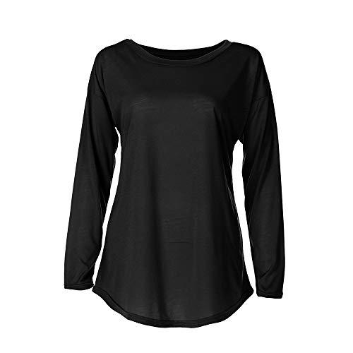 Camiseta Larga de Mujer, LANSKIRT Tallas Grandes de Mujeres Manga Larga Blusa Elegante Blusa de Moda Top T-Shirt: Amazon.es: Ropa y accesorios