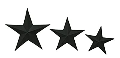 Zeckos Metal Wall Sculptures Sable Stars 3 Piece Matte Black Metal Barnstar Wall Hanging Set 22 X 22 X 3 Inches Black