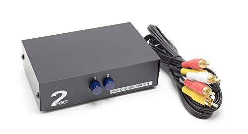 THE CIMPLE CO - 2 Way AV Switch | 2 Input 1 Output RCA Selector Switch for Composite Audio and Video | Switcher Box | Includes RCA Composite Cable (Black) 2 Out Composite Video