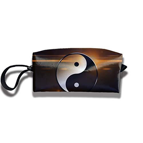Ministoeb Portable Pen Bag Purse Storage Yin Yang Taichi Art Women Pouch Handbag Cosmetic Toiletry Clutch Bag Make-up Receive Bag