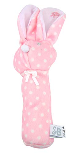 Polka Dot Pink Bunny Rabbit Plush Baby Rattle, 8 ()