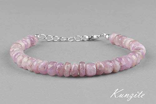 Natural Pink Kunzite Beads Bracelet Genuine Gemstone Dainty Jewelry 925 Sterling Silver Extender 1 Inch - Gemstone Genuine Handmade
