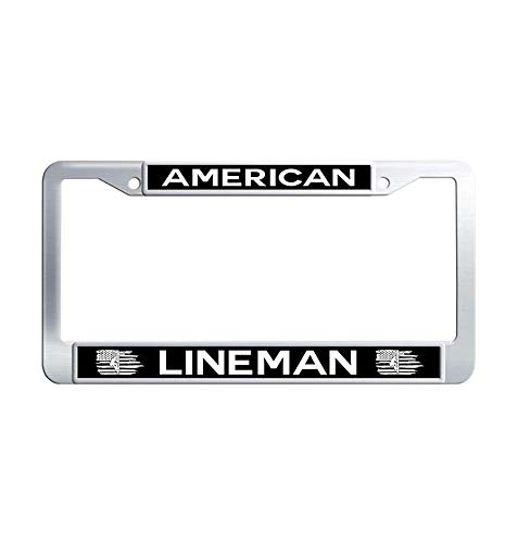 Toanovelty American Flag Lineman Metal Auto License Plate Frame, Waterproof Stainless Steel Auto License Tag Holder 6' x 12' in -