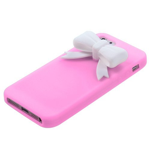 niceeshop(TM) White Bow,Tie Baby Pink Silicone Soft Cover Case for iPhone 5 5S + Screen Protector