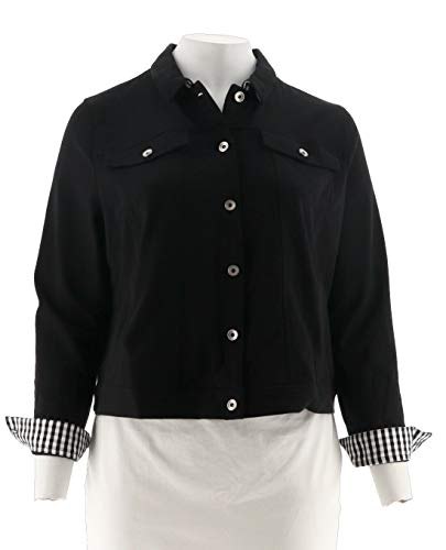 Clinton Kelly Kelly Ponte Knit Jacket Gingham Accents A288287, Black, XL from Clinton Kelly
