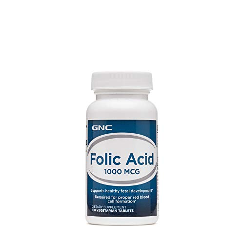 GNC Folic Acid 1000 MCG 100 Vegetarian Tablets