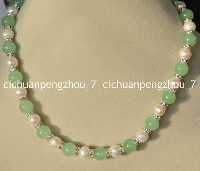 (FidgetKute 10mm Light Green Jade & 9-10mm Genuine White Cultured Pearl Necklace)