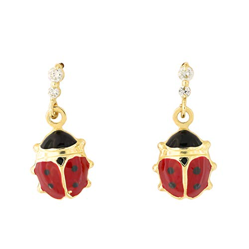 14k Yellow Gold Cubic Zirconia Red and Black Enamel Ladybug Safety Screwback Dangle Earrings ()