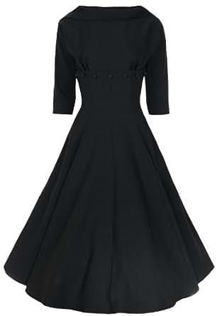 Lindy Bop 'Marla' Jackie O Style Vintage 1950's 1960's 3/4 Sleeve Dress (XS, Black)