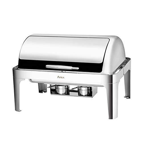 Atosa AT61363-1 8-Quart Oblong Chafer, Stainless Steel Full-Size Roll Top Chafing Dish Accent for Catering