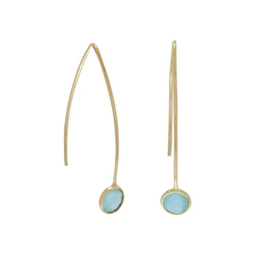 - 14k Yellow Gold Plated Sterling Silver Green Hydro Glass Wire Earrings