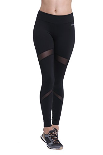 ZOANO Womens Yoga Pants - Power Flex Workout Running Leggings with Mesh Black XL