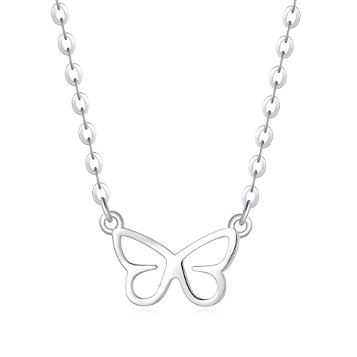 (Carleen 18K White Gold Plated 925 Sterling Silver Butterfly Dainty Pendant Necklace for Women Girls with 15.75