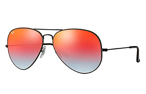 Ray-Ban RB3025 Aviator Flash Lens Gradient Unisex Sunglasses (Black Frame/Orange Gradient Flash Lens 002/4W, 62) (Orange Frames Gradient)