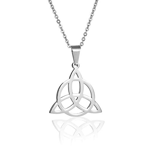 Vintage Celtic Knot Triangle Infinity Love Necklace Stainless Steel Pendant for Women Lucky Irish Trinity Jewelry -Silver (Trinity Infinity)