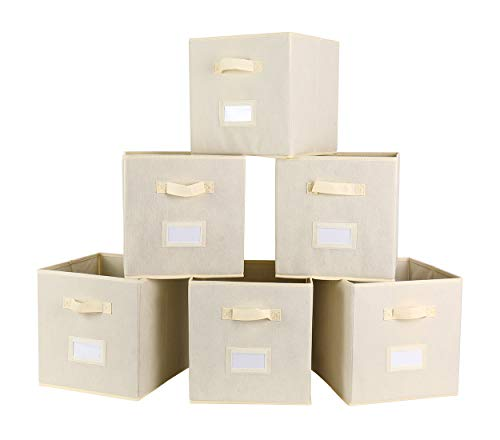 TQVAI Foldable Storage Cubes Closet Bins with Label Holder and Handle, 6 Pack, Beige