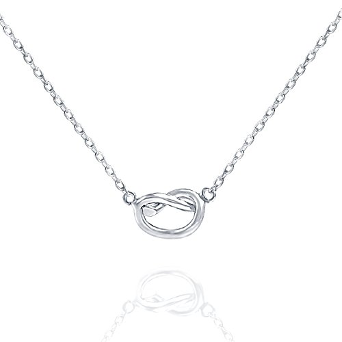 PAVOI 14K White Gold Plated Infinity Necklace | Bridesmaids Gifts | White Gold Necklaces for Women