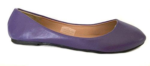 Chaussures 18 Femmes Basique Ronde Orteil Ballet Chaussures 8600a Violet Pu
