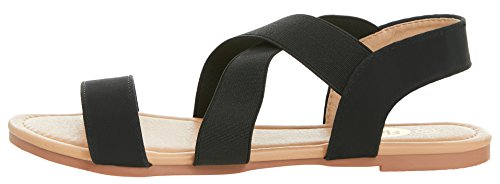 Flat Criss Black Elastic Summer Floopi Slingback Sandal Cross Strap Womens EwgMpqx0