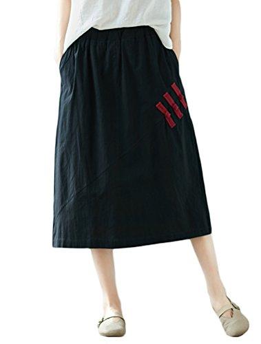 Mallimoda Femme Jupe Coton Rtro Chic Casuel avec Taille lastique Noir
