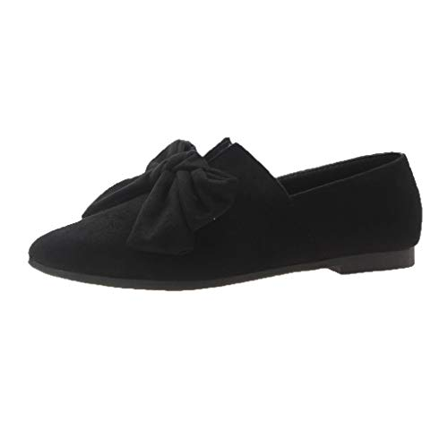 SMALLE_Shoes D'Orsay Flats Shoes for Women,SMALLE◕‿◕ Faux Suede Slip On Bow Collar Pointed Toe Ballet Flats Candy Color Black