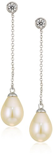 14k white gold 7.5-8.0mm freshwater pearl dangle earrings (1/5 cttw, h-i color, i1-i2 clarity) -