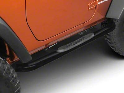 Textured Black Redrock 4x4 3 in Round Curved Side Step Bars for Jeep Wrangler JK 2 Door 2007-2018