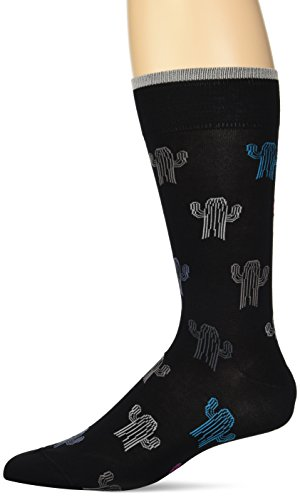 on Mercerized Cotton Cactus Print Sock, Black, ONE ()