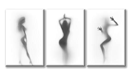 DJSYLIFE-Sexy Nude Woman Photos Bedroom Decoration Art Wall Art Print on Canvas,Naked Girl in The Shower Hazy Shadow Wall Art,3 Panels Modern Abstract Art Painting Home Decor,Ready to Hang-A01