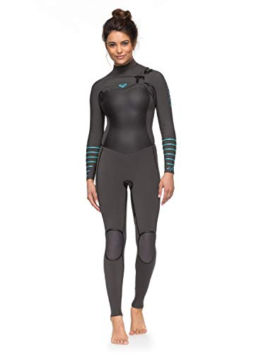 Roxy Womens 4/3Mm Syncro Plus - Chest Zip Wetsuit - Women - 6 - Blue Jet Black/Heather Blue 6 ()