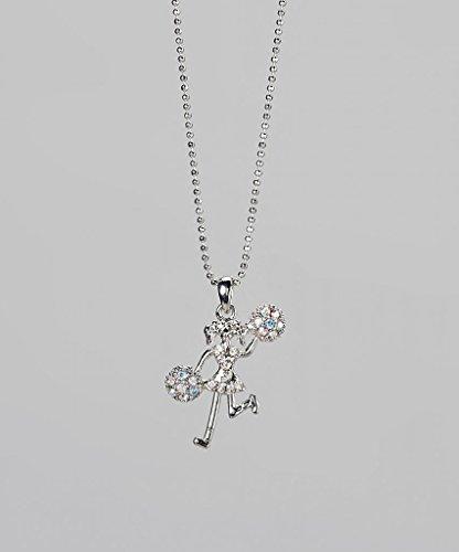 Lux Accessories Kids Girls Blue & Silver Cheerleader Pendant Necklace
