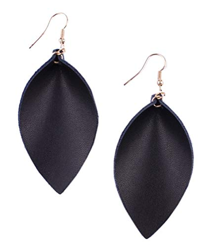 stylesilove Womens Handmade Lightweight Geometric Chevron Bohemian Leaf Drop Leather Earrings (Black)