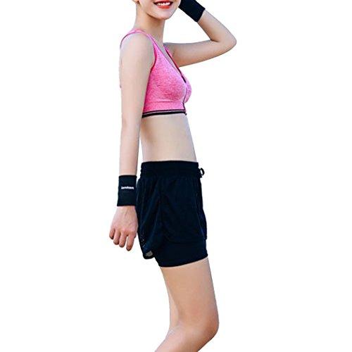 Dehutin Mujer Yoga FitnessGimnasio Talla grande Ropa de deporte 2 piezas Conjunto Ropa Sostén + Pantalón corto Rosa roja