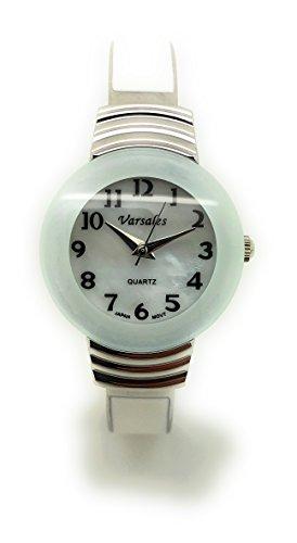 - Ladies Enamel Metal Bangle Cuff Fashion Watch Pearl Dial Versales (White)