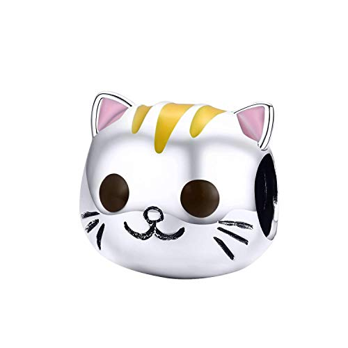 WOSTU 925 Sterling Silver Cute Enamel Cat Charm Beads for Bracelet Necklace. ()