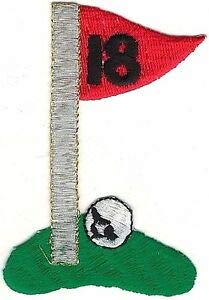 VirVenture 18 Hole Golf Ball Flag Green Embroidery Patch Great for Hats, Backpacks, and Jackets. - Golf Flag Embroidery