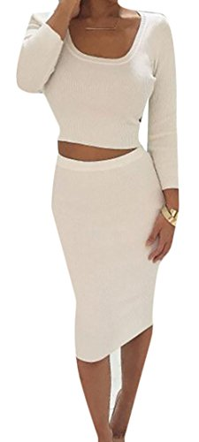 Sleeve Knit Long Womens Cruiize Crop and Bodycon White Tops Classic Dress qgSEI