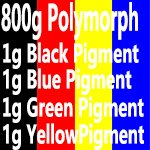 800g(28.2 oz) PCL+4g color pigments Thermoplastic polycaprolactone PCL plastimake PolyMorph for hobbyist mould (800g PCL+Black+Blue+Yellow+Red)