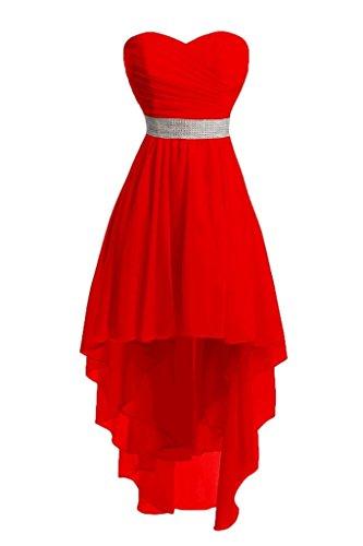 Brautjungfernkleider Hochzeit Schnürung Schulterfrei Hinten Perlen Rot Kleider Trägerlos Lang Ballkleider Chiffon Abendkleider Kurz Vorne 1q8CxzZ