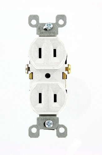 Leviton 223-W 15 Amp, 125V, Duplex Receptacle, Residential Grade, Non-Grounded, White, 10-Pack