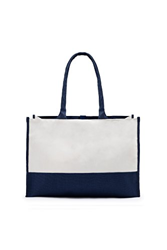 Bag Navy Tone Premium White Canvas Two Tote Blue and Bwqg7d