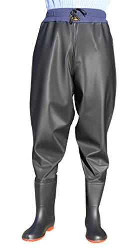 (Liveinu Men's Fishing Waders PVC Waterproof Breathable Waist Waders Hunting Rain Wading Pants Guide Pant with Boots)