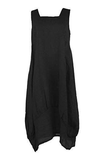 TEXTURE Ladies Womens Lagenlook Plain Sleeveless Square Neck Linen Long Midi Dress One Size (One Size, (Square Neck Silk Dress)