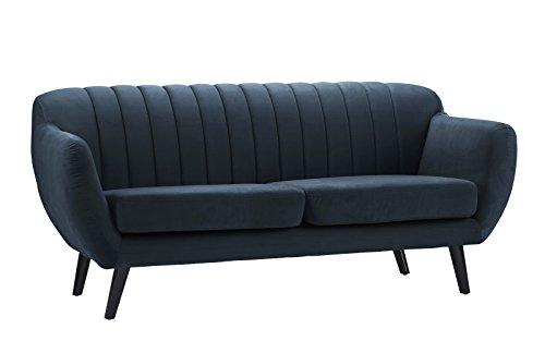 Mid Century Modern Brush Microfiber Living Room Sofa Couch (Navy Blue)