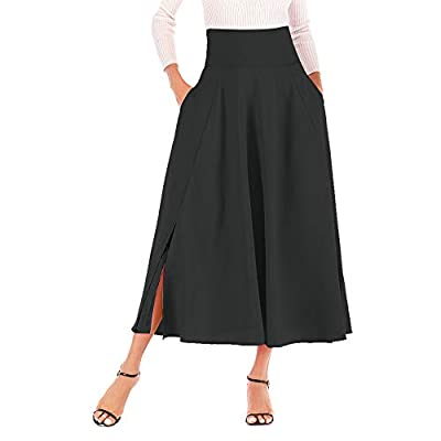 Calvin&Sally Women's Casual Flowy Dress High Waist Pleated Midi Skirt with Pockets at Women's Clothing store